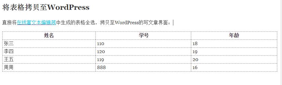 《WordPress非插件版插入表格》